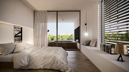 minimal bedroom with stunning balcony view