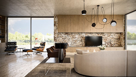 modern interior design of living room area in a home