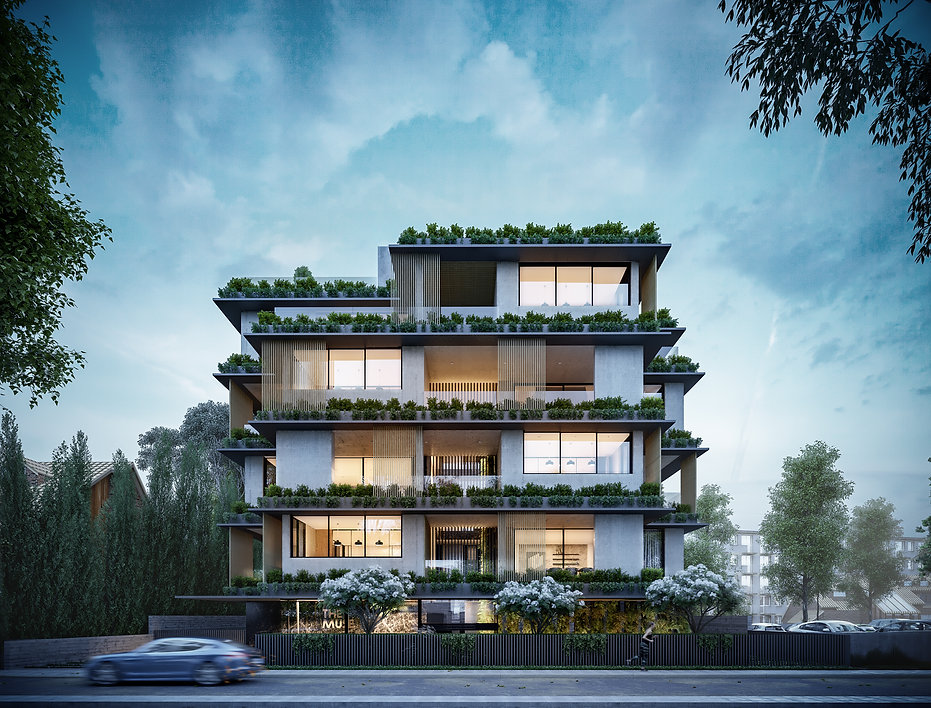 the muse apartments street view of fascinating light architectural design with green voids