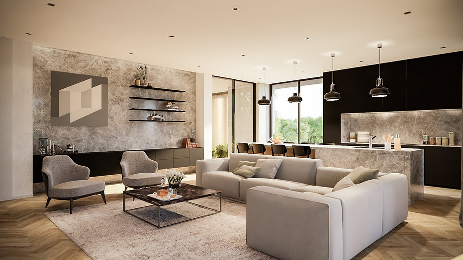 modern living space in the muse apartment by ekky studio architects