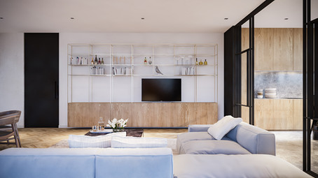 living room area materiality concept by ekky studio rchitects