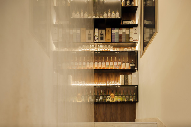 whisky library installation by ekky studio architects in cyprus