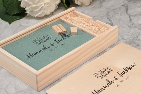 A5 Linen Album with Wooden USB & Box