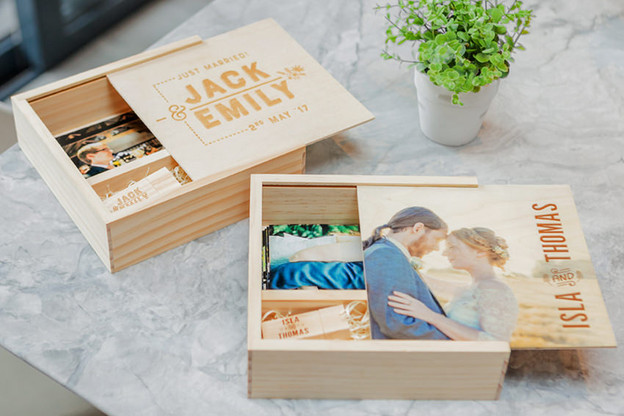 "Wooden 6""x4"" Print & USB Box"