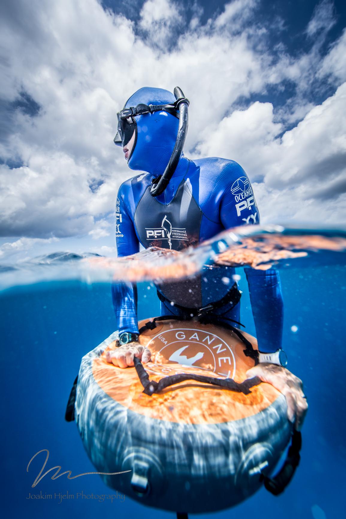Chris on Gannet float