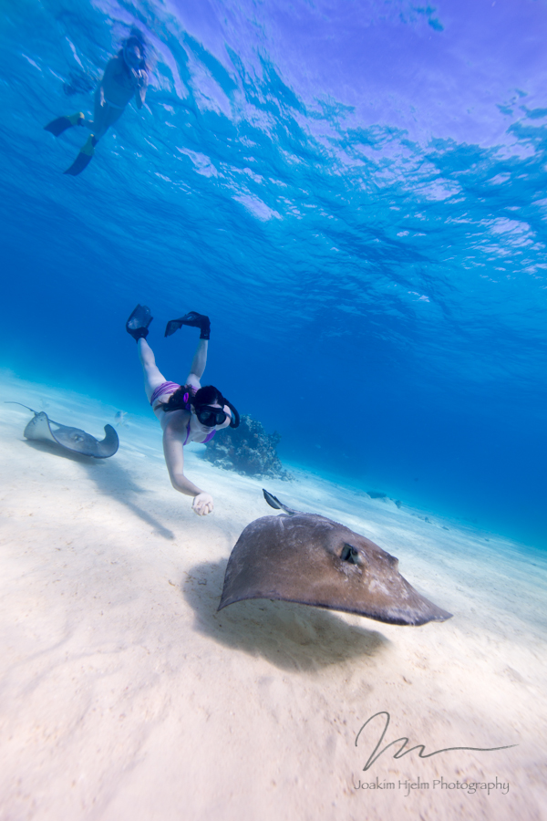Stingray City, Jackie and Ashleigh with Rays.jpg