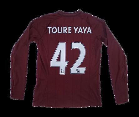 Manchester City 2012-13 Long Sleeve Away Jersey #42 Toure Yaya (XS)