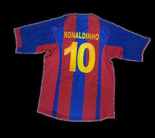 FC Barcelona 2004-05 Home Jersey #10 Ronaldinho (Medium)
