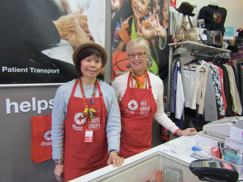 Sam and co-worker Anne at the Red Cross Shop- Glenferrie Road