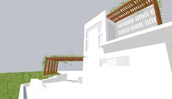 Vista frontal do edifício com a Interveção das Coberturas