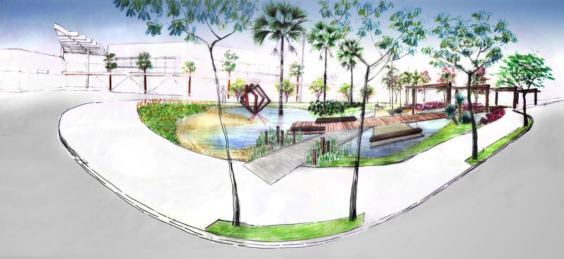 Perspectiva Panorâmica da Praça dos Buritis