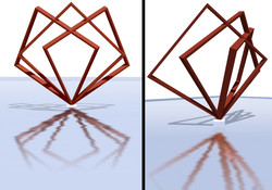 Detalhes da Escultura espacializando o logo da Empresa
