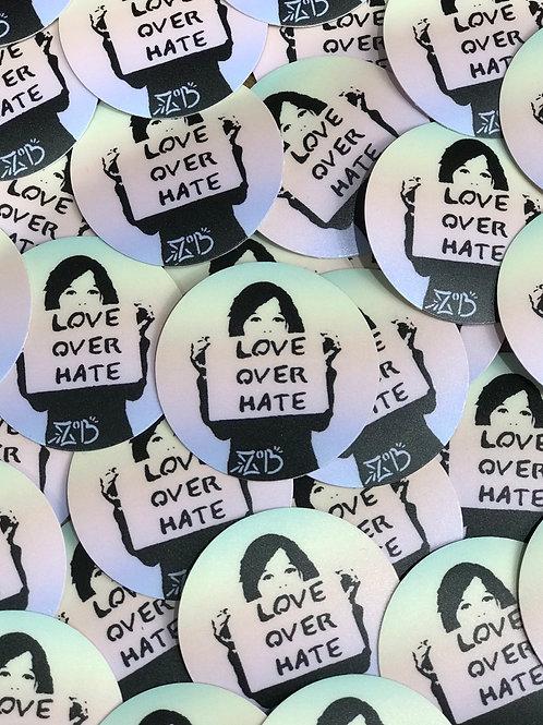 Love Over Hate rainbow sticker