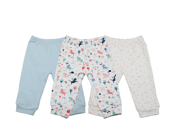 Babycare Colorland 3 Pieces Packed Pants 100% Fine Cotton from 3-24 Months