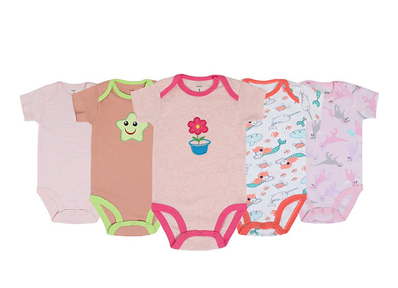 Babycare Colorland100% cotton short sleeve 5 pieces per set for boys or girls