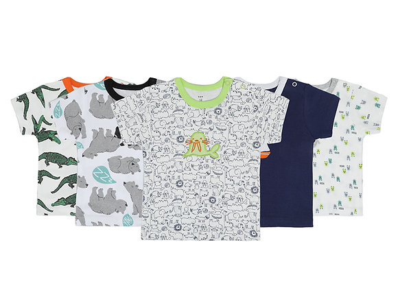Babycare Colorland Short Sleeve T-shirt 100% Cotton 5 pieces Set Packed