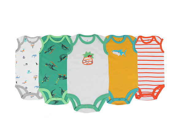 Babycare Colorland 100% cotton body sleeveless suit for boys or girls 5 pieces
