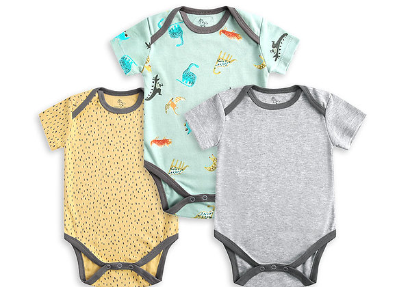 OEKO-TEX certified Dylan Short Sleeve Baby 100% Rompers/bodysuits (3 pieces set)