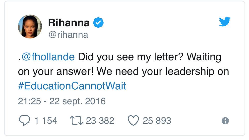 Tweet de Rihanna à François Hollande