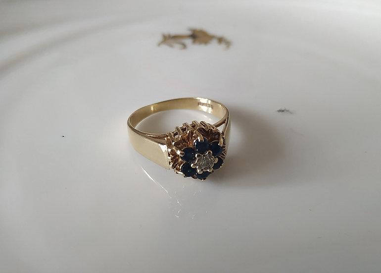 טבעת זהב דיאמנט וספירים