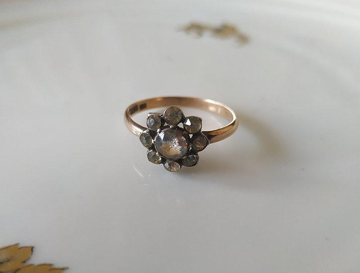 טבעת זהב כסף וזכוכית