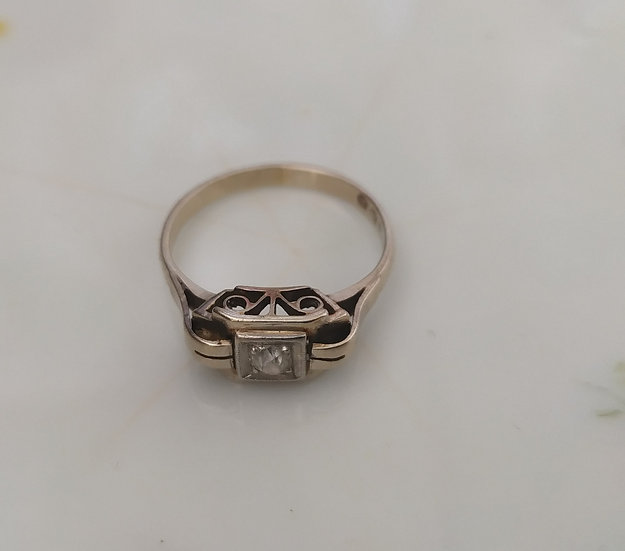 טבעת זהב ודיאמנט דקו