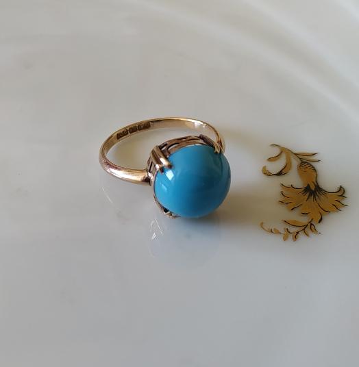 טבעת זהב וזכוכית טורכיז