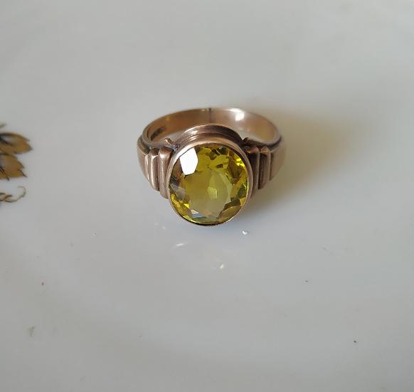 טבעת זהב וספיר צהוב
