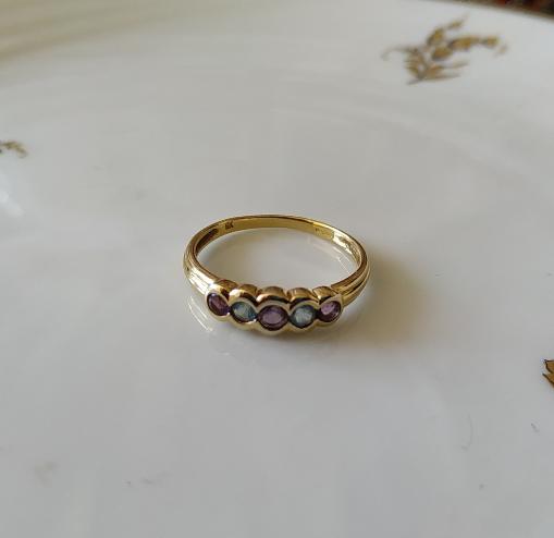 טבעת זהב טורמלין ואקוומרין