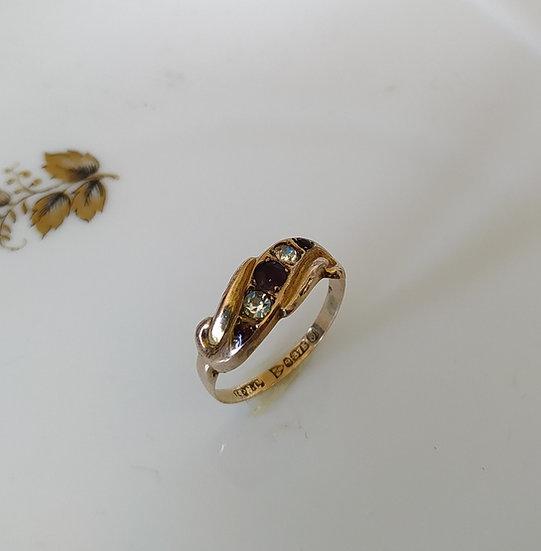 טבעת זהב גרנט וזירקונים