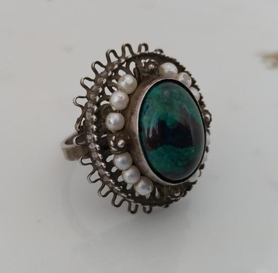 טבעת כסף אבן אילת ופנינים