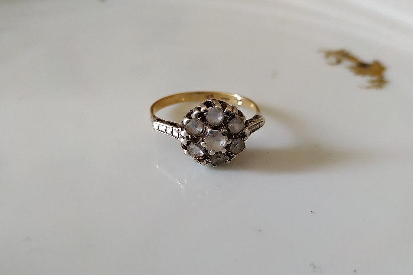 טבעת זהב כסף וזירקונים