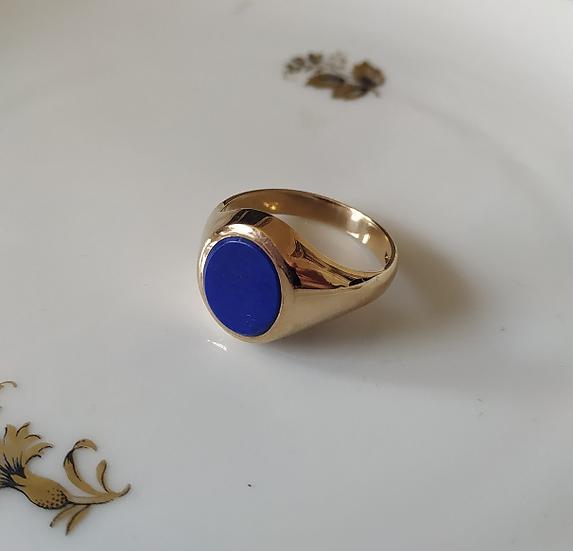טבעת זהב לגבר ואבן כחולה