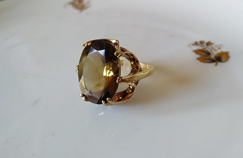 טבעת זהב וסמוקי קוורץ סילסולים