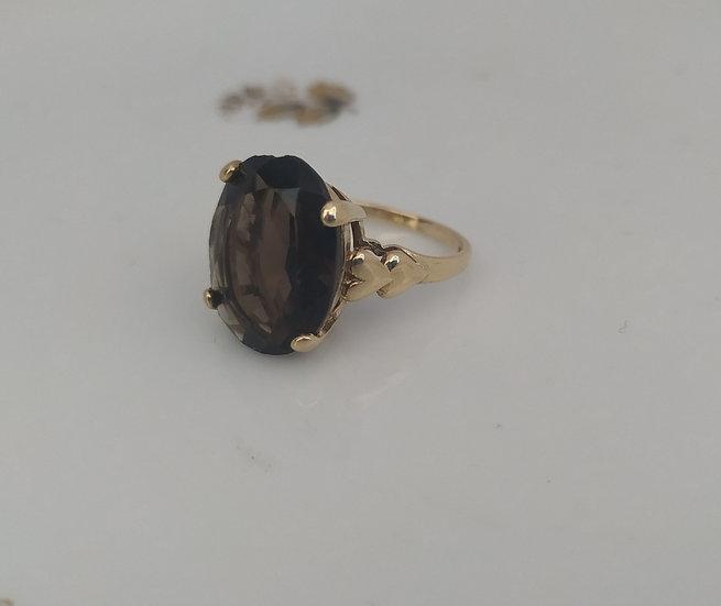 טבעת זהב וסמוקי קוורץ