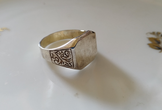 טבעת כסף חריטות לגבר