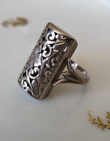טבעת כסף חצי גליל