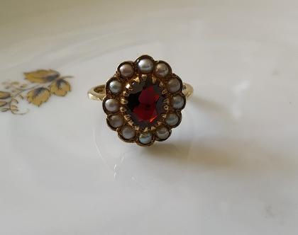טבעת זהב גרנט מרכזית ופנינים