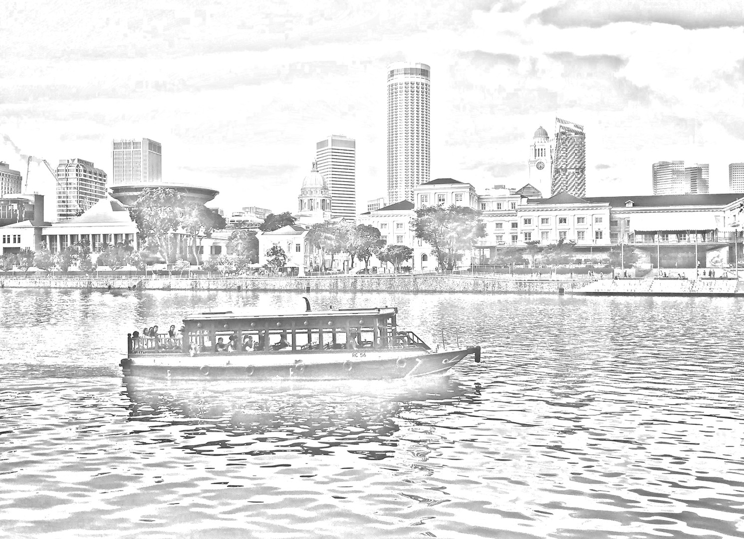 Singapore River Cityscape 1 - digital sk