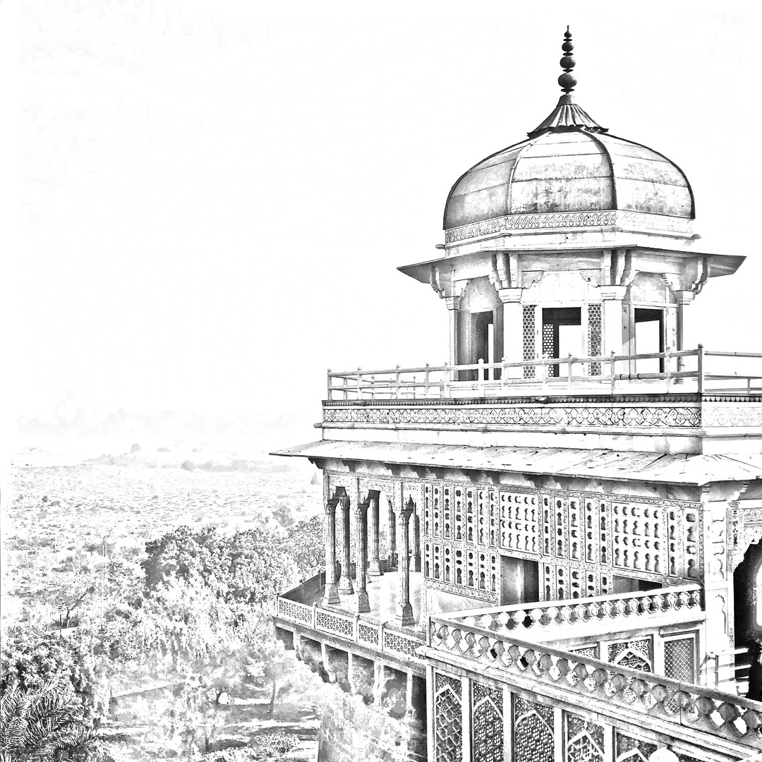 Agra Fort 1 - Agra India - digital sketc