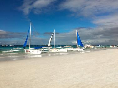Sailboats on White Sand Beach Boracay.jp