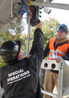 Our men installing surveillance on the ESPN TV bridge in Central Park for the NYC Marathon