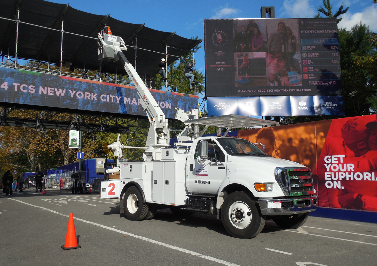Our men installing surveillance on the ESPN TV bridge in Central Park for the NYC Marathon