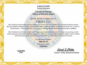 VIRSIG Certified as Nassau County MWBE