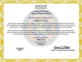 VIRSIG Certified as Nassau County MWBE
