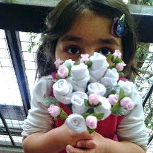 Baby Flowers, bouquets, ramo, flores, ajuar, regalos de nacimiento, bautismo, centro de mesa, ropa de bebé, souvenirs,  regalos empresariales
