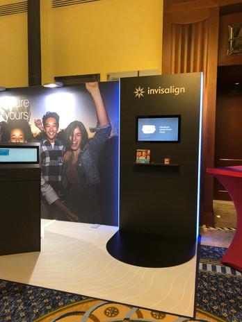 "custom built demo wall, free standing, 32"" touchscreen, shelf, LED lightening"