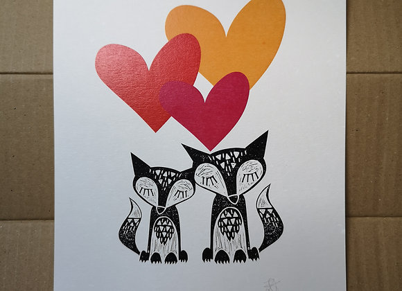 Foxes & Hearts A4 Print