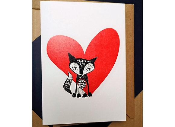 Fox & Heart A5 Greetings Card