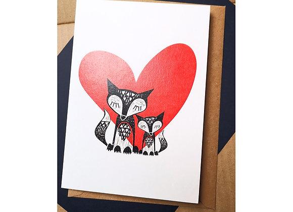 Fox Duo & Heart A5 Greetings Card